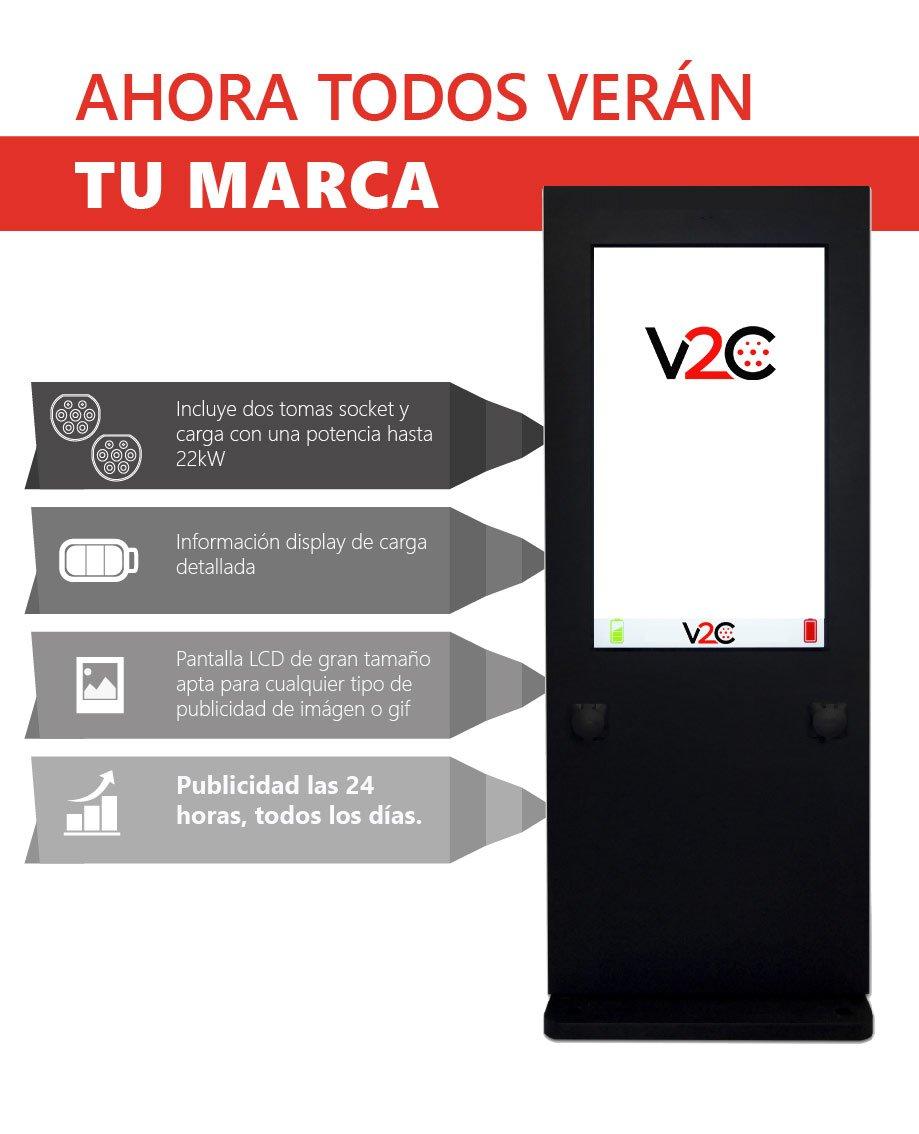 V2C Punto de recarga con publicidad screen